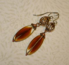 Brown Glass, Feather, Leaf, Dangle Earrings, Copper, Wire Wrapped, Rustic, Boho, Metalwork, Hypo-Allergenic by WiredByTara on Etsy