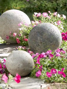 Concrete spheres bring lasting beauty to any garden. Cast a half sphere at a time, using 10-, 12-, or 15-inch-diameter molds. Sandwich two halves to make a round with a spread of mortar holding the pieces together. Dabs of outdoor acrylic paint add a mossy appearance that becomes even more realistic with weather and age.