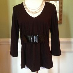 """Black Top w/Accent Black Patten Belt Super cute with jeans and black boots...3/4"""" sleeves Tops"""
