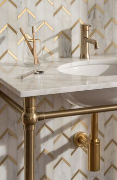 Brass and marble bathroom Field Tile | New Ravenna
