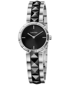 a70b65276752e Calvin Klein Women s Swiss Edge Black PVD Studded Stainless Steel Bracelet  Watch 30mm K5T33C41   Reviews - Watches - Jewelry   Watches - Macy s