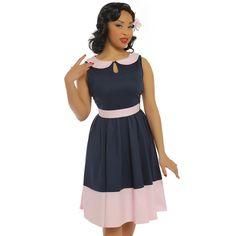 'Beattie' Navy Blue Swing Dress