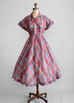Vintage Early 1950s Windowpane Plaid Day Dress