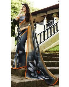 Grey Georgette Saree with grey blouse
