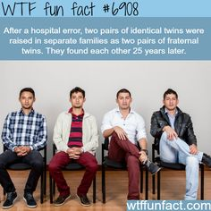 Two pairs of Identical twins separated at birth - WTF fun fact