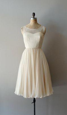 1950s dress / cream chiffon dress / Vanilla Sky dress