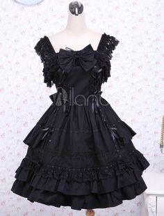 f684fa77d Gothic Lolita Dress JSK Black Ruffles Bow Lace Trim Lolita Jumper Skirt