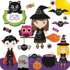 Digital Halloween Clipart Witches Owls Vampire Bat.halloween clipart - LoveItSoMuch.com