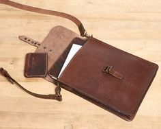 Small leather crossbody bag for tablet. Brown leather saddle by InnesBags