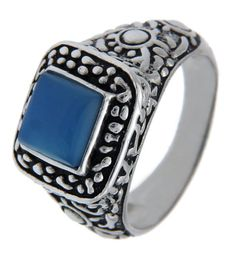 Solid Sterling Silver Blue Chalcedony Stone Ring»R117