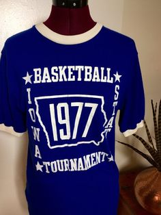 Vintage 1977 Blue and White Ringer Iowa State by manhunt on Etsy
