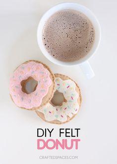 DIY Felt Donut - Crafted Spaces Felt Diy, Pin Cushions, Donuts, Spaces, Crafty, Breakfast, Tableware, Fun, Ideas