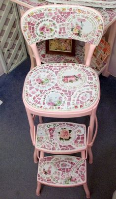 Cute Kitchen Mosaic Stepping Stool by hillspeak. Great idea for transforming an old step stool.