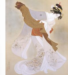 This ukiyo-e was painted in 1934 by the famous Itô Shinsui 伊東 深水 This lady is performing the Lion Dance literally named 鏡獅子 Kagami jishi (Lion Dance) Japanese Illustration, Illustration Art, Botanical Illustration, Art Chinois, Traditional Japanese Art, Ancient Japanese Art, Japanese Style, Lion Dance, Art Asiatique
