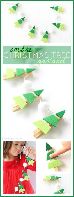 Ombre Christmas Tree Garland - Easy toddler craft for the holidays! - Ombre Christmas Tree Garland - Easy toddler craft for the holidays! Kids Crafts, Easy Toddler Crafts, Holiday Crafts For Kids, Christmas Activities, Christmas Projects, Christmas Ideas, Wood Crafts, Easy Crafts, Preschool Christmas
