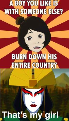 The thought of Aang's granddaughter saying something that Kyoshi would agree with is so hilarious!