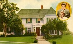 Ozzie and Harriet's real house. The exterior was used in the series and the set of the interior was based on the real floor plan of their house shown here.