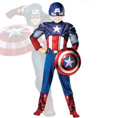 Hot Sell Children Avengers Captain America Muscle Cosplay Costume for Boys Superman Fancy Halloween Party Costumes for kids Price: USD 17.98 | United States