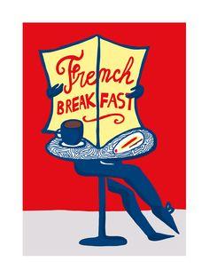 French Breakfast - Illustration réalisée par Florence Bamberger - Numérotée et signée - 18 x 24 cm - Tirage limité à 50 ex. - En exclusivité chez L'illustre Boutique