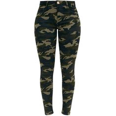 Khaki Camouflage Skinny Jeans ($33) ❤ liked on Polyvore featuring jeans, camo skinny jeans, camo jeans, cut skinny jeans, camo print skinny jeans and denim skinny jeans