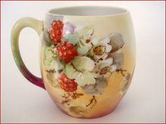 LIMOGES Porcelain mug - Hand Painted Fruit - Red Raspberries