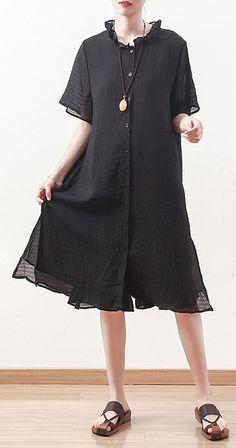 5e36effaaf Style black Chiffon Shirts ruffles collar Knee summer Dresses