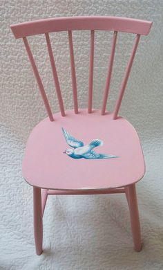 This little vintage wooden chair has been updated and painted Rose Pink and I have decoupaged a lovely blue and white vintage dove onto the seat. Would be lovely for a child's room or yours!!!  I love to do single chairs or sets of chairs and I have many other vintage animals and birds and paint colours