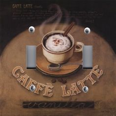 Light Switch Plate Outlet Covers Kitchen Decor Steaming Cafe Latte Coffee