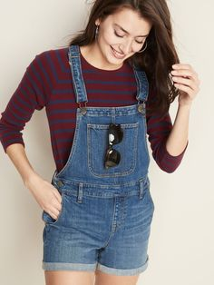Jean Shortalls For Women Ootd Fashion, Fashion Pants, Fashion Outfits, Womens Fashion, Fashion Ideas, Fashion Inspiration, Going Out Outfits, Cool Outfits, Navy Outfits