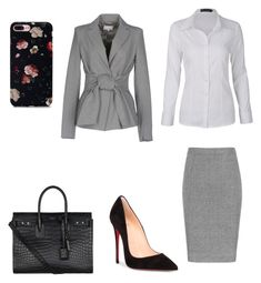 """#LawyerBabe Court Day"" by taniavd on Polyvore featuring Christian Louboutin, Patrizia Pepe and Yves Saint Laurent"