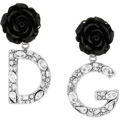 Dolce & Gabbana rose logo drop earrings ($815) ❤ liked on Polyvore featuring jewelry, earrings, black, dolce gabbana earrings, floral earrings, summer earrings, rose gold tone jewelry and rose jewelry