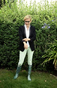 Inspired by Olympia Outfit with @Stefanel Official Blazer and Hunter boots