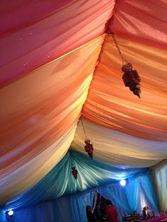 like the idea of pastel coloured fabric hanging like sails