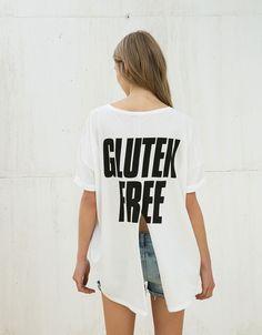 Oversize 'Quinoa/Gluten' top - Woman - Bershka Germany