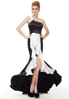 One Shoulder High Low Black Satin Trumpet-Mermaid Evening Dress $98.99