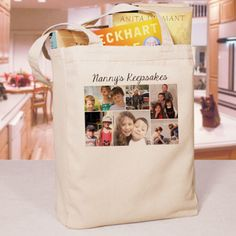 Personalized Photo Collage Canvas Tote Bag