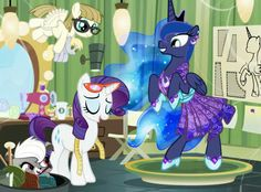 Rarity making Princess Luna a dress with Zipporwhill holding a Derpy plushie and Pepper from Littlest pet shop hiding it the bucket if material.