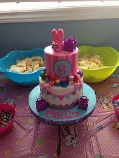 "Shopkins cake with handmade fondant ""Bun Bun Slipper"" Shopkins Cake, Bun Bun, Custom Cakes, 5th Birthday, Slipper, Fondant, Baking, Girls, Party"