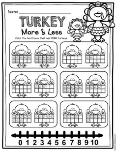 FREE Turkey more than/less than worksheet - perfect for math in November