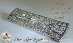 Antique Victorian 10 kt White Gold 3 Diamond by DLSpecialties