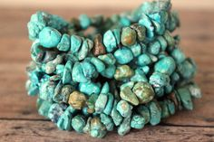 Turquoise Chip Layering Stretch Bracelet - Bohemian Boho Chic Stackable Blue Green Brown Stone Jewelry. $15.00, via Etsy. (for one)