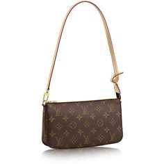 Pochette Accessoires Monogram Canvas ($500) ❤ liked on Polyvore featuring bags, white bag, monogram canvas bag, monogrammed bags, white canvas bag and canvas bag
