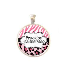 Cher would look awfully cute with this. Pet ID Tag  Personalized with Name and Number by GoodGirlGoneBadge, $8.00