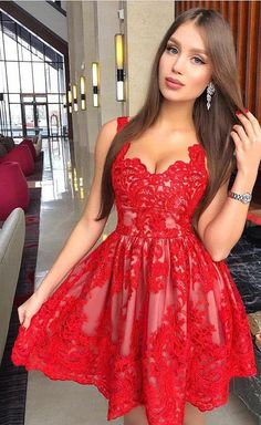 Discount Comfortable Lace Red Party Dress New Arrival Red Lace Homecoming Dresses,Short Homecoming Dress,Graduation Hoco Dress Short Graduation Dresses, Cheap Homecoming Dresses, Cute Prom Dresses, Dresses For Teens, Trendy Dresses, Sexy Dresses, Party Dresses, Mini Dresses, Dresses Online