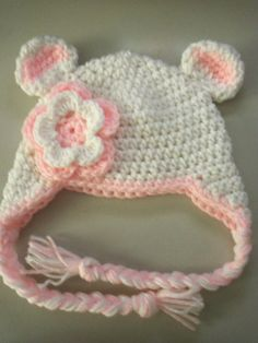 Baby Crochet Beanie Earlap Hat In White And Baby Pink by LovelyJC, $13.00