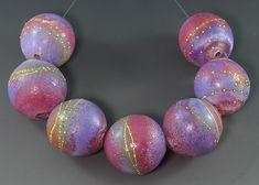Width of beads - 28 mm. Set of hollow beads by Ikuyo Yamanaka