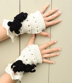Rose Onie Fingerless gloves Ivory black hand by Valerie Baber Designs - IntricateKnits, $45.00