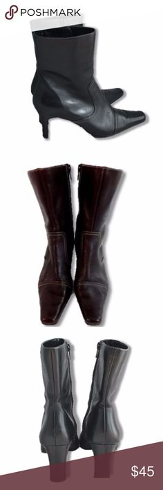 """Anne Klein Black Mid Calf Leather Boots Size 7 Anne Klein Black Mid Calf Leather Boots SIDE ZIPPERS 9.5"""" Tall 3"""" Heel Size 7 EUC Anne Klein Shoes Ankle Boots & Booties"""