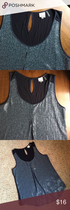 Blue sequined tank, like new condition Navy blue tank embellished on the front with square gun-metal blue grey sequins.  One dart in the front.  Keyhole opening in back.  Like new condition. ecru Tops Tank Tops