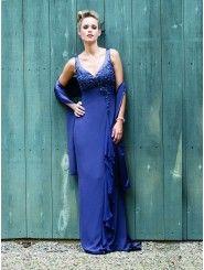 Silky Crepe V-neck Neckline Corset Bodice Column Bridesmaids Dress
